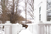 Wintery front porch at a traditional white home.