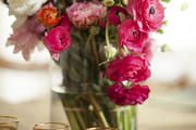 A floral arrangment and vintage Moroccan tea glasses