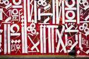 Graphic white and red graffiti in a Florida exhibition area, Wynwood Walls