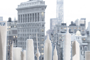 Skyscraper candles infront of the New York City skyline