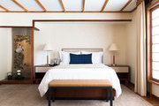 A neutral bedroom at the Golden Door Spa