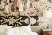 Multicultural accents in the bedroom of children's fashion designer Emily Meyer