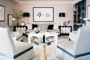 A black-and-white color palette in an open living space