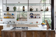 Open shelving in a contemporary kitchen.