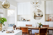 A sophisticated dining space with modern accents.