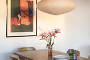 Mid-century modern dining table with Eames DCM chairs.