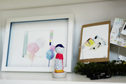 This is a closer look at a decorated shelf in a Brooklyn apartment.