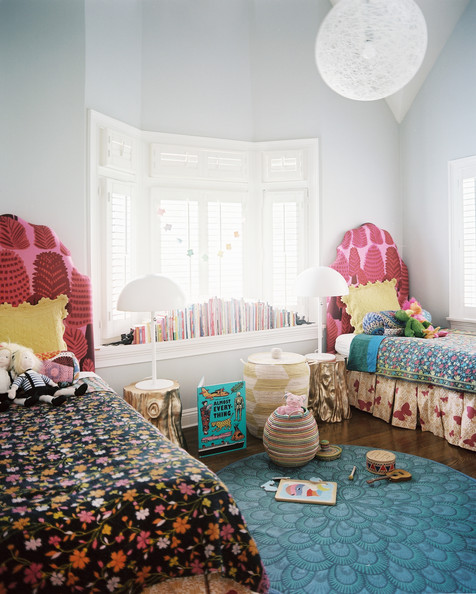 August 2012 Issue - Matching twin beds covered by a mix of patterns