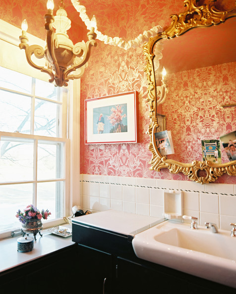 Bathroom light photos design ideas remodel and decor for Red and gold bathroom set