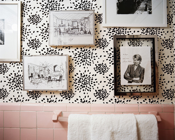 Bathroom Wallpaper - Sketches by Albert Hadley and a signed portrait of Martha Stewart on Hadley's fireworks-print wallpaper