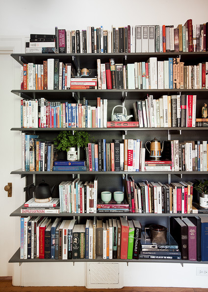 Black Bookshelf - Library wall in Emily Meyer's Northern California home
