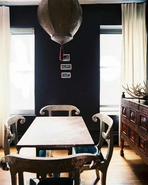 Bohemian dining room photos 24 of 32 lonny - Black walls in dining room ...