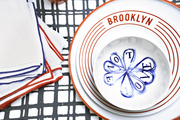 Red, white, and blue motifs on a tabletop