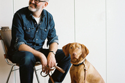 J.Crew's Frank Muytjens and Dutch, a seven-month-old Vizsla