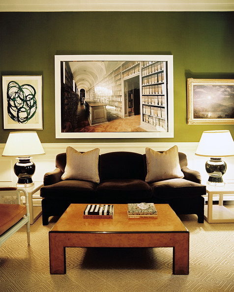 Brown Wall Decor For Living Room : Green living room photos of lonny