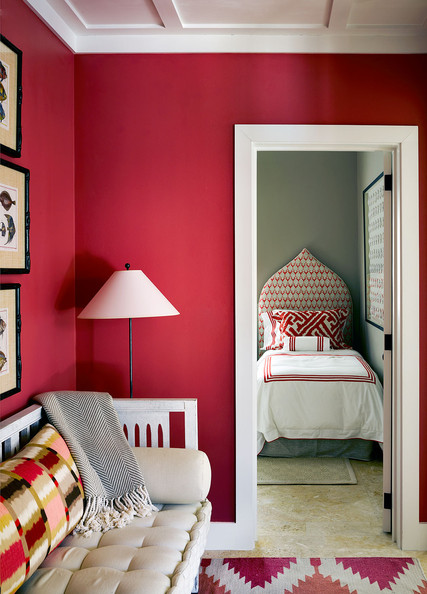 Red Den with White Ceiling and Trim