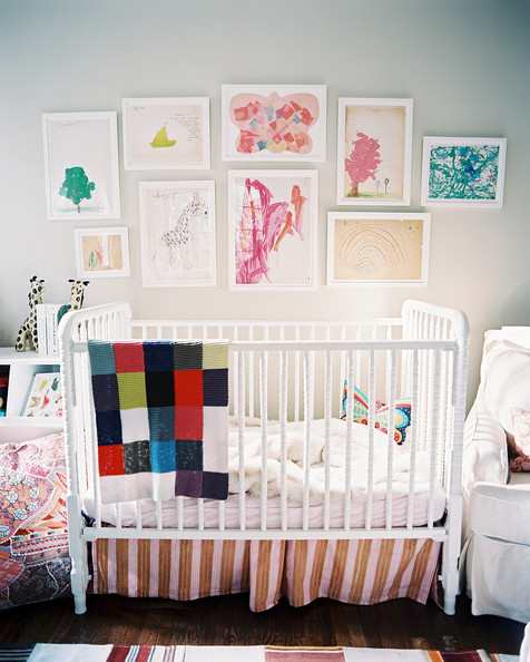Kids' Room - Framed children's art hung above a white Jenny Lind crib