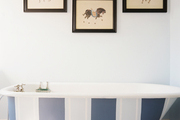 Framed prints of horses above a striped claw-foot bathtub