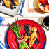 An assortment of colorful brunch options and decor