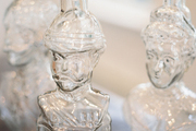 Glass bottles resembling vintage busts