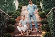 Michael Griffin and Mark D. Sikes on the brick steps leading to their home in the Hollywood Hills
