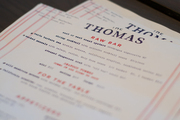 The dinner menu at The Thomas restaurant in downtown Napa