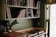 DJ turntables in the customized games room.