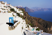Views of the rocky coastline of Santorini