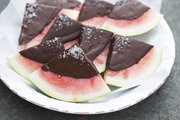 Chocolate covered watermelon slices topped with salt.