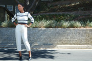 Actress Joy Bryant on the street near her home