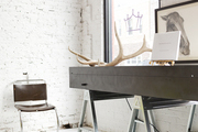 Antlers on a table with sawhorse legs