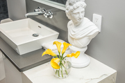A contemporary bathroom with a white carved bust.