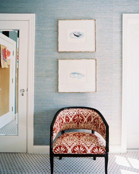 eclectic furniture blue grass cloth wallpaper and a patterned chair in ...