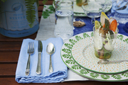 A place setting for an outdoor dinner party