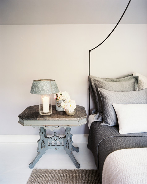 Table details gray white rustic traditional vintage bedroom rustic