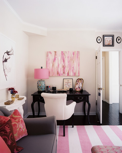 Work Space - Pink accents in a corner office area