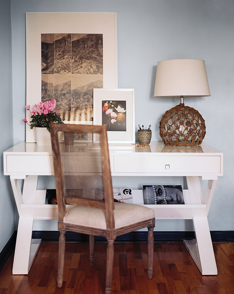 Work Space - A white modern desk paired with a French-inspired chair