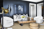A black-and-white design accented with natural elements