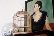 A birdcage and a disco ball next to a framed portrait