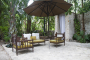 The outdoor area near the spa at Coqui Coqui in Valladolid, Mexico.