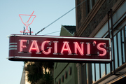 The old neon-lit sign at Fagiani's Bar in downtown Napa