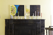 A marble mantel with whimsical accents