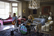 Band practice in a sprawling living room