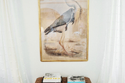 A woven bench and a framed portrait of a bird flanked by white curtains