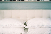 Shades of white and blue in a bedroom