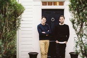 Ari Heckman and Will Cooper outside Heckman's Sag Harbor home