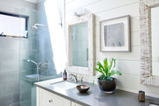 A look at the master bath with double sinks.