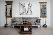 Gustavian antiques, including and upholstered settee, in a Scandinavian home