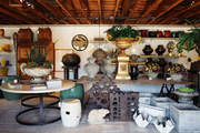 Footed pedastals, urns, and vases at West Hollywood retail destination, Inner Gardens
