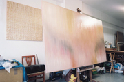 A large in-progress canvas in LeRone Wilson's Harlem art studio